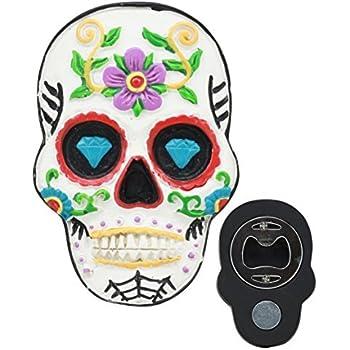 Amazon Com White Day Of The Dead Sugar Skull Magnetic