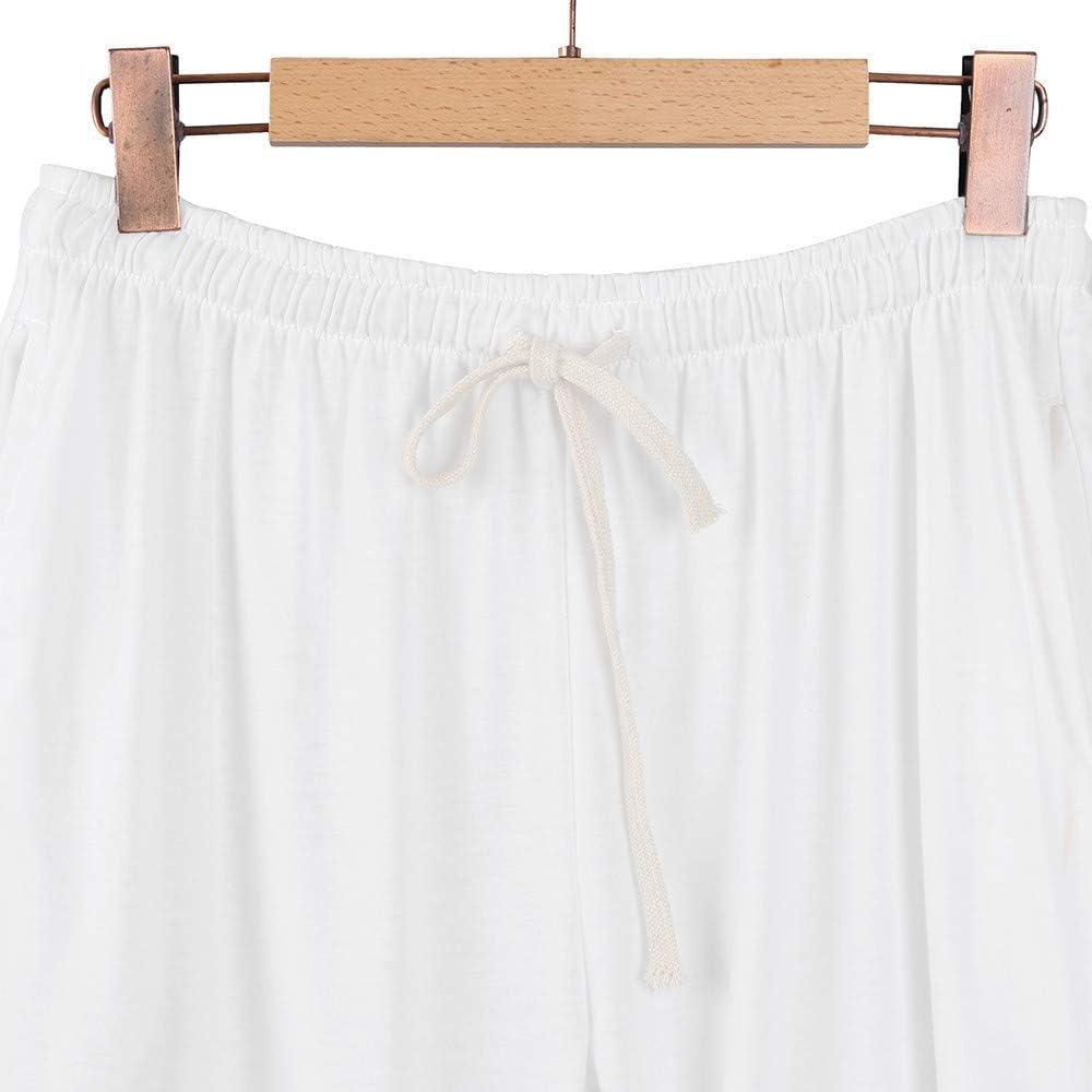 Geetobby Mens Cotton Loose Pants Beach Drawstring Yoga Elastic Linen Trousers
