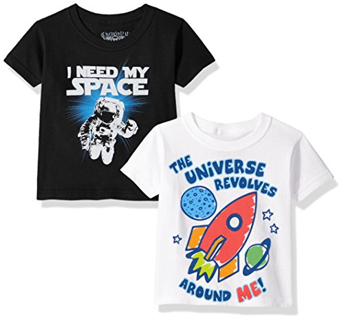 C-Life Toddler Boys' Chemistry 2-Pack Assorted Graphic T-Shirts, White/Black, 4T