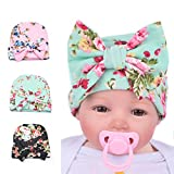 Ever Fairy 3pcs Infant Baby Girls floral print Nursery Newborn Hat Cap with Big Bow