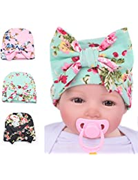 Infant Baby Girls Floral Print Nursery Newborn Hospital Hat Cap with Big Bow