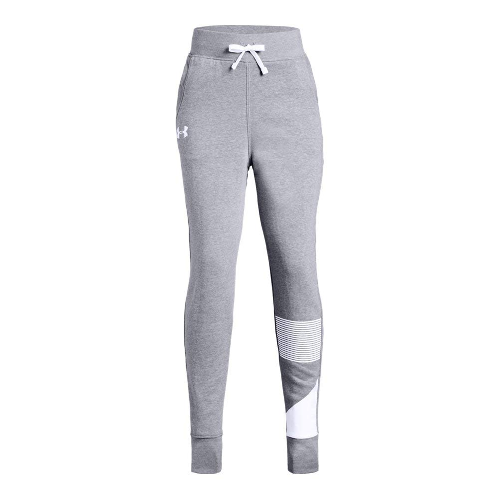 Under Armour Girls Rival Jogger, Steel Light Heather (035)/White, Youth Small