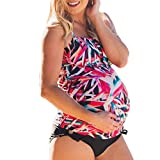 Vincent&July Maternity Tankinis Women Flowers Print Bikinis Swimsuit Pregnant Suit (X-Large)
