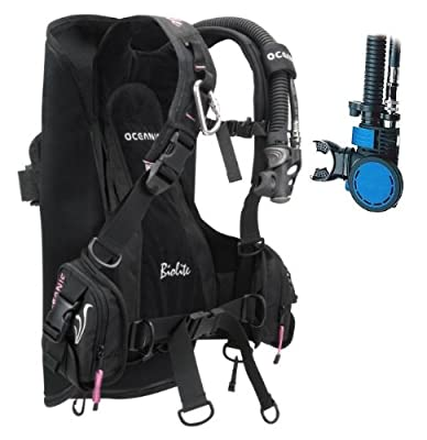 New Oceanic BioLite Travel Scuba Diving BCD with Air XS 2 Alternate Air Inflator Regulator Installed on BCD - Pink (Size Small)