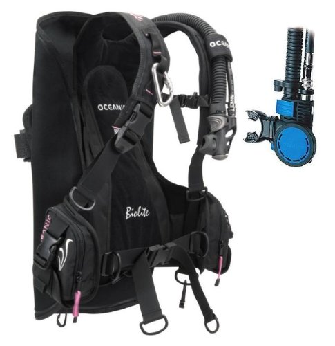 - New Oceanic BioLite Travel Scuba Diving BCD with Air XS 2 Alternate Air Inflator Regulator Installed on BCD - Pink (Size X-Small)