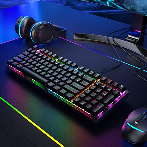 VictSing Mechanical Keyboard, 96 Keys RGB Gaming Keyboard Wired with Blue Switches, Ten Keyless Gaming Keyboard with Number Keys for PC/Laptop Games