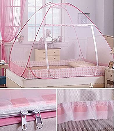 CdyBox Folding Mosquito Net Tent Canopy Curtains for Beds Home Bedroom Decor 1.8X2.0m, Pink