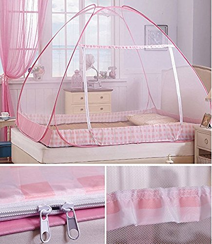 CdyBox Folding Mosquito Net Tent Canopy Curtains for Beds Home Bedroom Decor (1.8X2.0m, Pink) by CdyBox (Image #4)