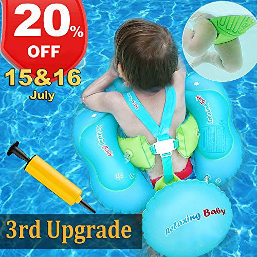 3rd Seat Well - Baby Swimming Pool Float, 【July 15 & 16 Deals】Baby Floats Swim Training Aid with Safety Seat Double Airbag for Infant Baby Toddler Kid Age 6-30 Month Swim Float Swimming Pool Accessories(17.6-33lbs)