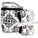Blooming Bouquet Gift Sets - Versailles Black/White - Bottle Bag & Burp Set