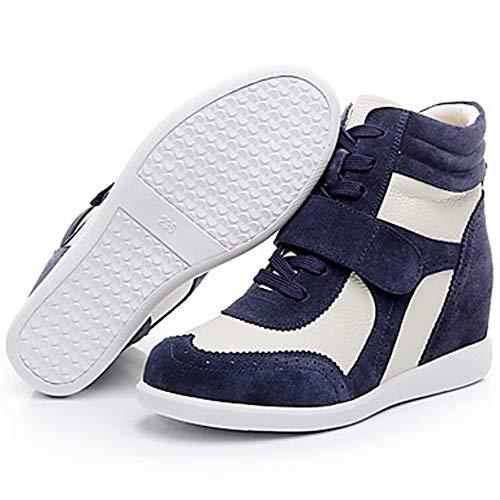 Rosa Comoda US7 Donna Marrone Punta Per Sneakers Inverno Blue Tonda Autunno UK5 TTSHOES E CN37 EU37 White Stivali Bianco Zeppa Pelle Scarpe Blue 5 HOvYw