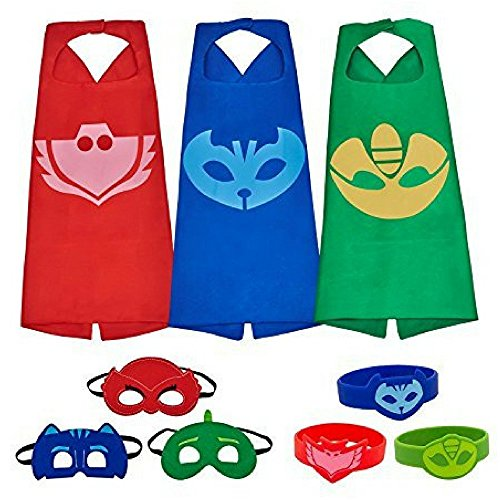 Dress Up Comics Cartoon Superhero Costume With Satin Cape and Matching Felt Mask (PJ Masks 3 PK With - Costume Turtles Ninja
