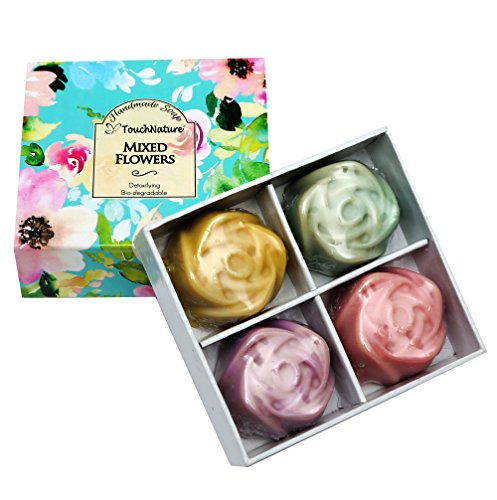 Mixed Flowers Set- 4 Pcs Of Handmade Mini Rose Shaped Soaps (Lavender, Rose, Peppermint, Lemongrass) Natural Handmade Soaps. Free of SLS, SLES, Paraben and carcinogenic ingredients.100% Bio-Degradable Christmas Rose Open Vegetable Dish