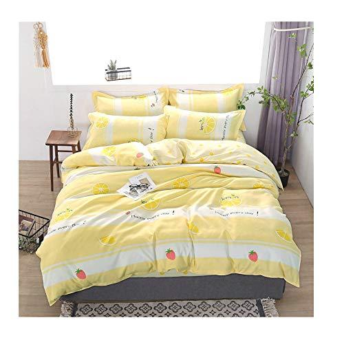 - KFZ Bed Set Children Bedding Set Duvet Cover(No Quilt) Flat Bedsheet Pillowcase BC1904 Twin Full Queen King Sheets Set Rabbit Cat Mask Triangle Plants Designs (Lemon Pie, Yellow, Twin 60