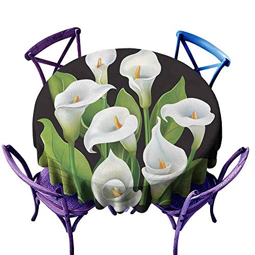 AFGG Round Tablecloth Bouquet of White Calla Lilies on Black Background Resistant/Spill-Proof/Waterproof Table Cover 40 INCH