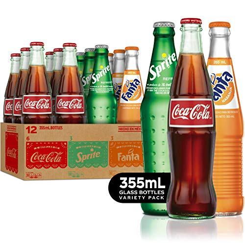 Mexican Coke Fiesta Pack, 12 fl oz Glass Bottles, 12 Pack (Mini Coca Cola Glass)