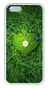 Beautiful green heart TPU Silicone Case Cover for iPhone 5/5S ¡§C White by mcsharks