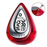 Alarm Clock Water Power Weather Station, Poscoverge Eco-Friendly Hydrodynamic Water Powered Digital Clock, Time Display and Temperature Measurement for Office Living Room Bedroom (Red)