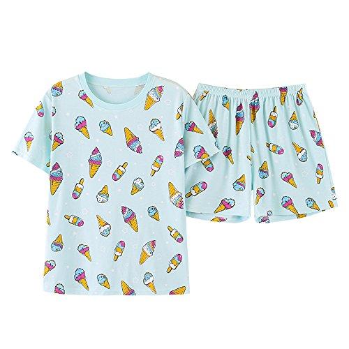 Vopmocld Big Girls' Cute Ice Cream Pajamas 2 Pieces Casual Sleepwear 6-14 Years 100% Cotton (Cotton Girls Pajamas)