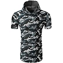 SPE969 Tuxedo Shirts Camouflage Men's Casual Print O Neck Pullover Short Sleeve Top Blouse