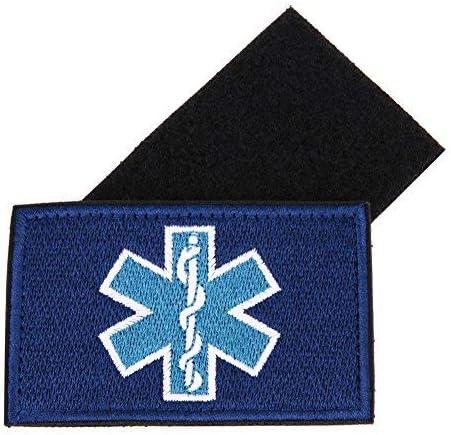 Patch Nation Estrella de Vida param/édico Azul Bordado para Airsoft y Paintball Parche