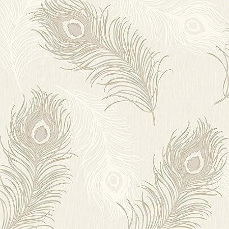 Debona Viola Feather Pattern Glitter Motif Bird Textured Vinyl Wallpaper Taupe 40913