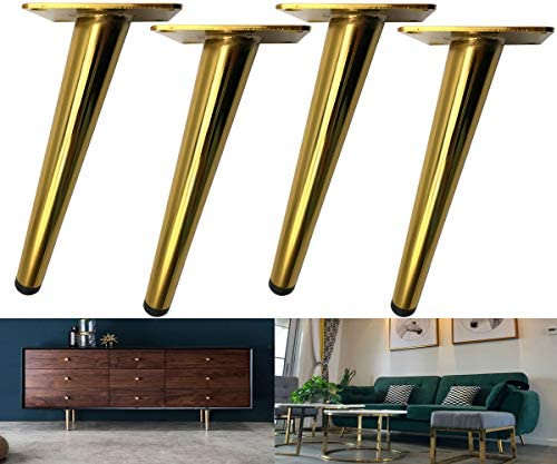 Bikani Golden Sofa Legs Round Solid Metal Furniture Legs Sofa Replacement Legs Perfect for Mid-Century Modern/Great IKEA hack for Sofa, Couch, Bed, Coffee Table (Golden Color, 6 Inches,Set of four)