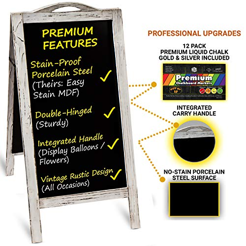 Rustic Porcelain Steel Sandwich Board | Standing Sidewalk Chalkboard Sign + 12 Liquid Chalk Pens | Wedding Restaurant Bridal Baby Shower Gift | Large Magnetic NO-STAIN Signs | A Frame Menu Board Easel