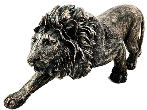 The King of The Jungle Bronzed Aslan Lion Figurine Battle Attacking Stance - Decor Jungle Home