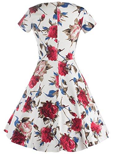 Azbro Mujer Retro Vestido A-línea sin Mangas Estampado Floral Multicolor 1