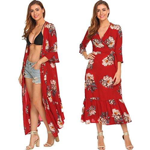 ELESOL Women Vintage Floral Print Flare Sleeve Maxi Long Party Dress Pattern4 XL (Wrap Tie Dress)