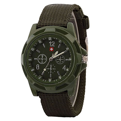 Alalaso Simple Quartz Wrist Watch, Solider Military Army Green Dial Army Sport Style Watch Buckle Clasp (Army Green)