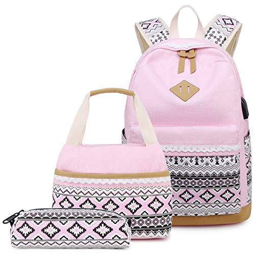 Abshoo Polka Dot Canvas Backpacks For Girls School Bookbags Teen Backpacks With Lunch Bag (9G5 Pink)
