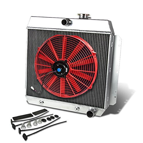 For Chevy V8 Conversion MT 3.5-3.9L Aluminum Racing 3-Row Radiator+16 inches Fan (Red)+Mounting Kit ()