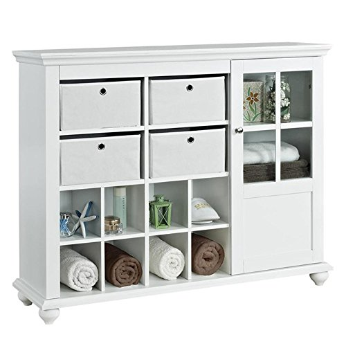 Altra Furniture Reese Park Glass Door Storage Cabinet with 4 Fabric Bins