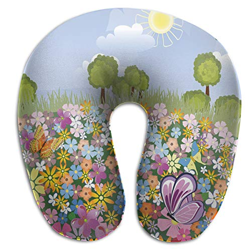 Shepinqee Nutmix Nursery Flourishing Spring Meadow with Colorful Blossoms Butterflies Trees Growth Foliage Decorative Print Memory Foam Neck Pillow