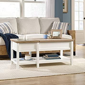 Sauder 421463 Cottage Road Lift-top Coffee Table, L 42.91 x W 19.02 x H 18.98 , Soft White finish