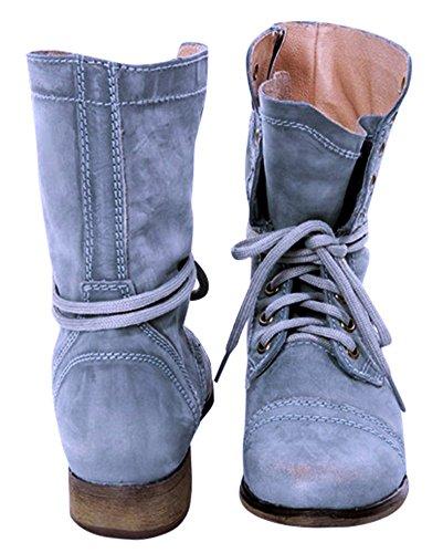 Elegante Minetom Boots Casual Blocco Martin Moda Stivaletti Stivali Invernali PU Sexy Tacco Tacco Lacci Autunno Blu Donna Stivaletti qYHw76xnrY