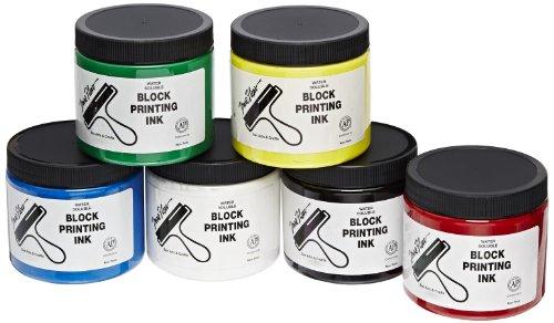 Sax True Flow Block Printing Ink - 16 Ounces - Set of 6 - Assorted Colors ()
