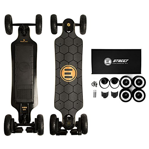 Evolve Skateboards – Bamboo GTX Street AND All-Terrain Electric Longboard Skateboard – 31 Mile Range – 26 mph Top Speed –Digital LCD Screen Remote Control – Lithium-Ion Battery from Evolve Skateboards