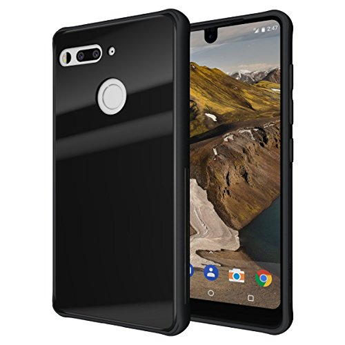 - Essential Phone PH-1 Case, TUDIA [Ceramic Feel] Lightweight [GLOST] TPU Bumper Shock Absorption Cover Featuring [Tempered Glass Back Panel] for Essential Phone PH-1 (Black)