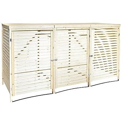 Charles Bentley Wooden 3 Bin Storage with Lifting Lid