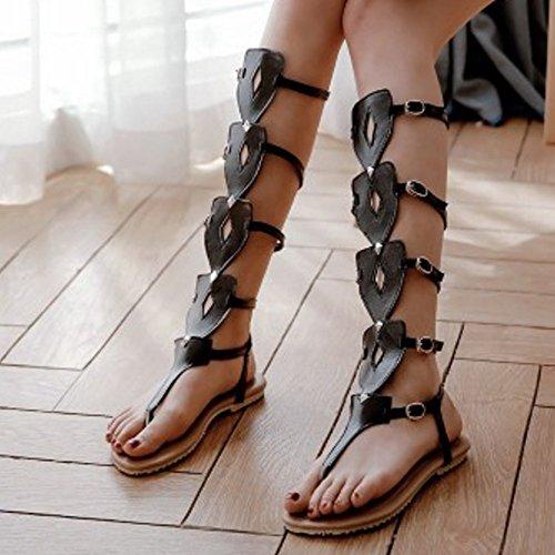 Femmes Gladiateur Chaussures Black Salom¨¦s Sandales Creux VulusValas Plates xACTwqx