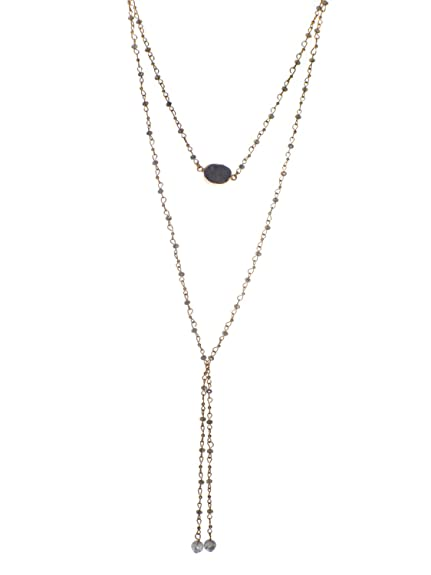 17528556bc5 Jewelry Nexus Vintage-Inspired Stone Pendant Two-Tier Long Bead Chain  Lariat Necklace