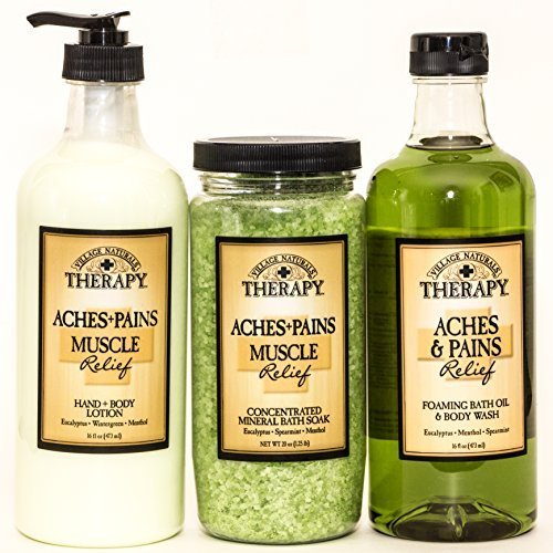 Village Naturals Therapy Aches and Pains Muscles Relief Lotion, Bath Soak, Body Wash Review