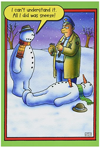 NobleWorks ''Snowman Sneeze'' Funny Merry Christmas Greeting Card, 5'' x 7'' (5706)