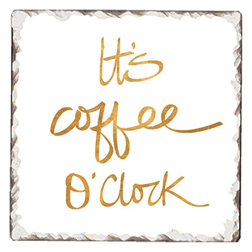- CounterArt Single Tumbled Tile Absorbent Coaster, It's Coffee O'Clock