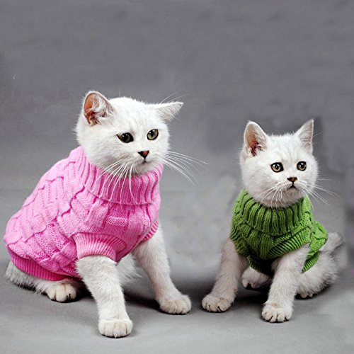 Picture of Turtleneck Pet Cats Sweater Aran Pullover Knitted Doggie Kitty Clothes Solid Colors for Kitten Chihuahua Pug (Green, M)