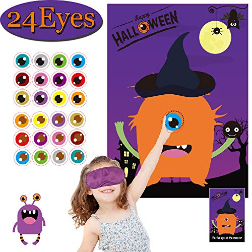 Zombie Party Games Halloween (Halloween Party Games for Kids Pin The Eye on The Monster Game Halloween Party Favors and Games Halloween Halloween Party Games Activities Halloween Pin The Tail (Pin The Eye on)