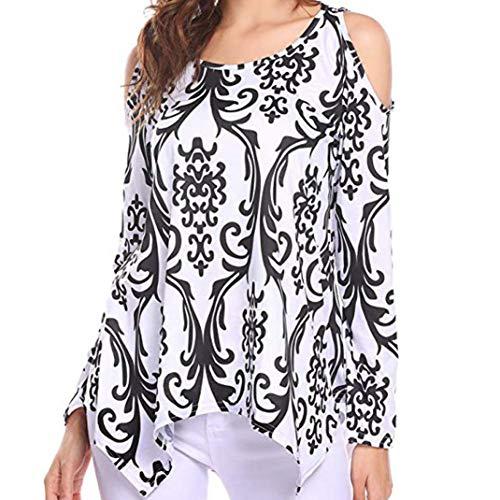 Alimao Autumn New Tops for Womens Casual Long Sleeve O-Neck Off Shoulder Irregular Hem Printing T-Shirt Tunic Tops